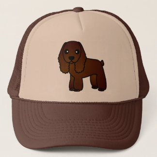Cute Chocolate Cocker Spaniel Cartoon Trucker Hat