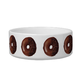 Cute Chocolate Dipped Doughnuts. Pet Food Bowl