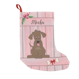 Cute Chocolate Lab Pink Wooden Fence Monogram Small Christmas Stocking
