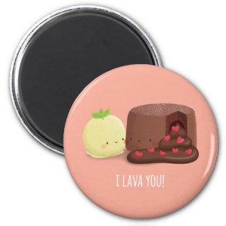 Cute Chocolate Lava Cake and Ice Cream Pun Magnet