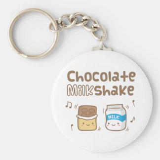 Cute Chocolate Milkshake Doodle For Her Basic Round Button Keychain