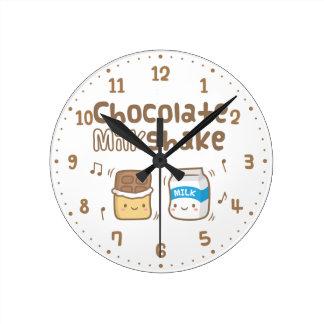 Cute Chocolate Milkshake Doodle For Her Wall Clock
