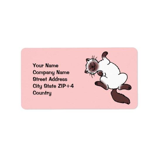 Cute chocolate point Siamese cat Label