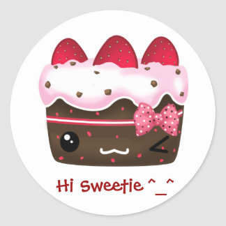 Cute chocolate with strawberries cake classic round sticker