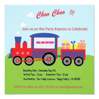 Cute Choo Choo Train Birthday Party Invitation