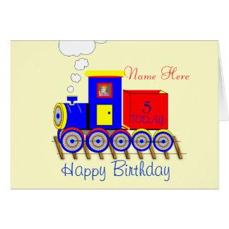 Cute Choo Choo Train Boy's Personalised Card