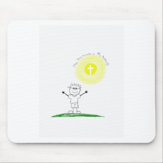 Cute Christian character with scripture Mouse Pad