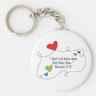 Cute Christian heart bible blessing Genesis 12:3 Basic Round Button Keychain