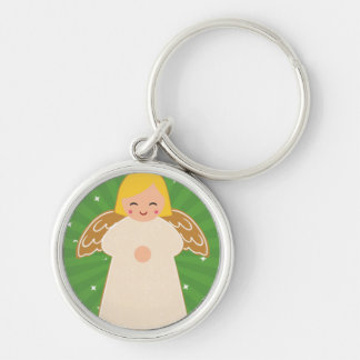 Cute Christmas Angel.jpg Silver-Colored Round Keychain