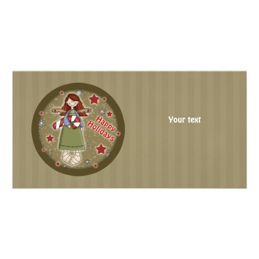 Cute Christmas angel with candy cane Picture Card
