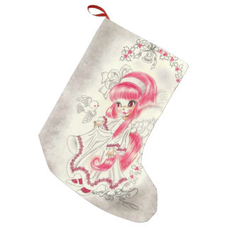 Cute Christmas Angel With Red Hair And Holly Small Christmas Stocking