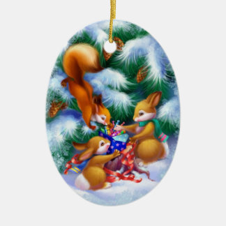 Cute Christmas Animals Ceramic Oval Ornament