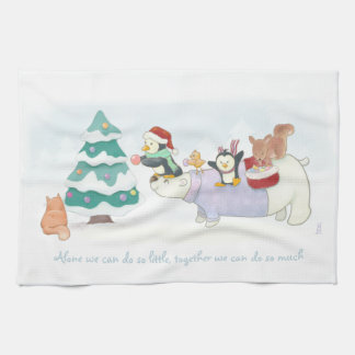 Cute Christmas animals decorating a snowy tree Kitchen Towel