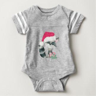 Cute Christmas Baby Raccoon Baby Bodysuit