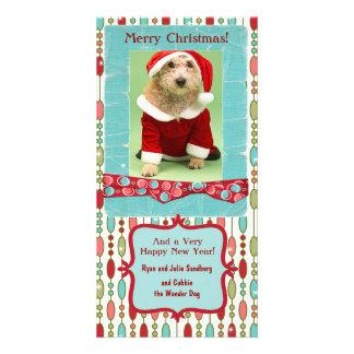 Cute Christmas Beaded Whimsy Custom Photo Card Template