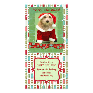 Cute Christmas Beaded Whimsy Photo Greeting Card