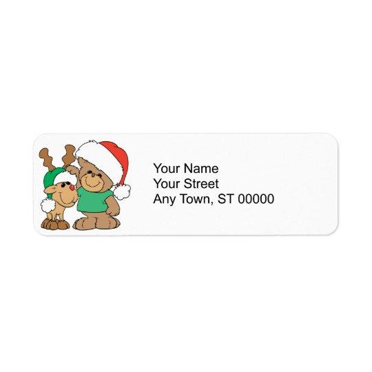 Cute Christmas Bear and Reindeer Return Address Label