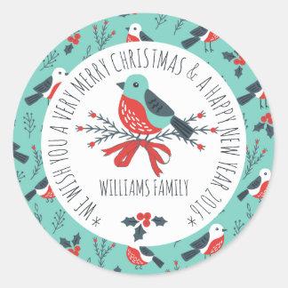 Cute Christmas Bird Pattern Text Template Classic Round Sticker