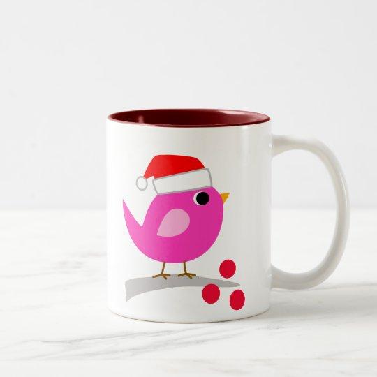 Cute Christmas Bird Two-Tone Coffee Mug