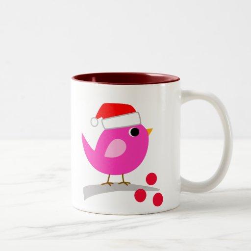 Cute Christmas Bird Two-Tone Mug
