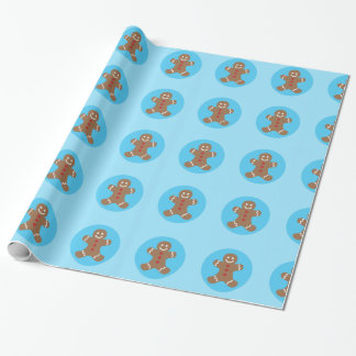 Cute Christmas Blue Gingerbread Man Wrapping Paper