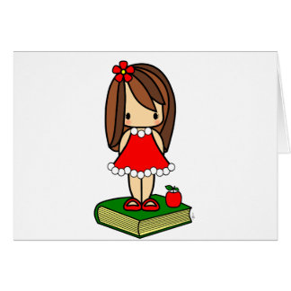 Cute Christmas brown haired teacher Greeting Cards