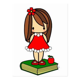 Cute Christmas brown haired teacher Postcard
