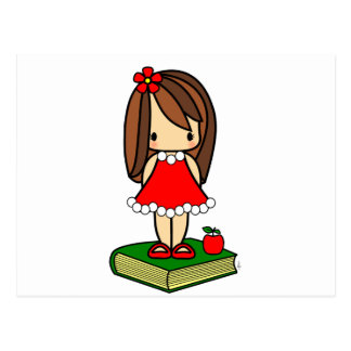 Cute Christmas brown haired teacher Postcards