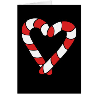 Cute Christmas Candy Cane Heart Card