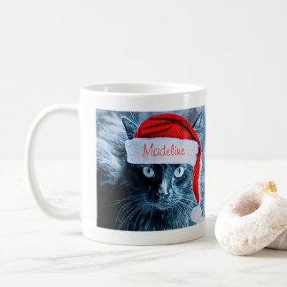 Cute Christmas Cat Mug, Personalized Coffee Mug