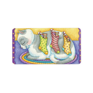 Cute Christmas Cat Sleeping with Mice in Stockings Label