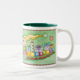 Cute Christmas Caterpillar Train with Presents Two-Tone Coffee Mug