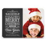 Cute Christmas Chalkboard Photo Template Card Custom Invitation