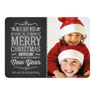 "Cute Christmas Chalkboard Photo Template Card 5"" X 7"" Invitation Card"