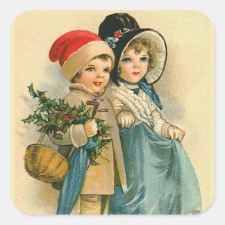 """Cute Christmas Children"" Square Sticker"