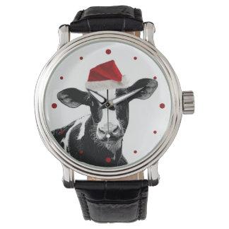 Cute Christmas Cow in Santa Hat Watch