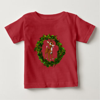Cute Christmas Deer and Wreath Baby T-Shirt