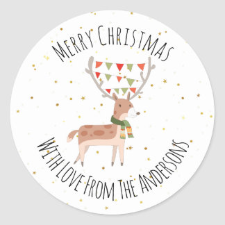 Cute Christmas Deer Merry Christmas Classic Round Sticker