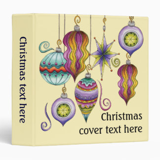 Cute Christmas, Elegant and Fancy Glass Ornaments 3 Ring Binder