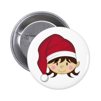 Cute Christmas Elf Badge 2 Inch Round Button