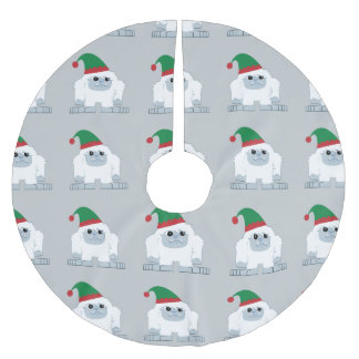 Cute Christmas Elf Yeti Brushed Polyester Tree Skirt