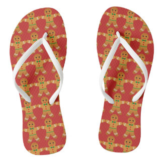 Cute Christmas Flipflops Gingerbread men pattern
