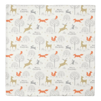 Cute Christmas forest deer rabbit - Xmas gifts Duvet Cover