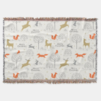 Cute Christmas forest deer rabbit - Xmas gifts Throw