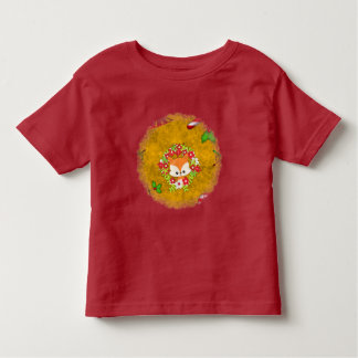Cute Christmas Fox and Wreath Toddler T-shirt