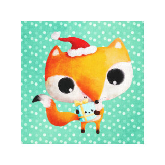 Cute Christmas Fox Stretched Canvas Prints