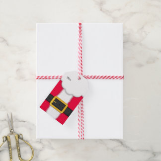 Cute Christmas Gift Tag with Santa Claus Suit