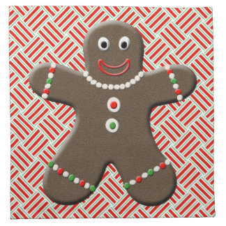 Cute Christmas Gingerbread Boy Man On Red Napkins