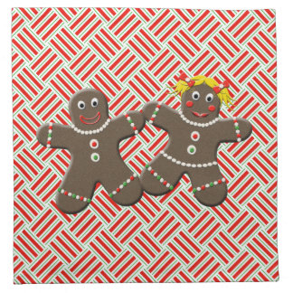 Cute Christmas Gingerbread Couple Boy Girl On Red Printed Napkin