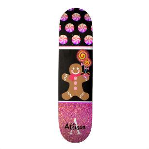 Cute Christmas Gingerbread Girl Pink Glitter Name Skateboard